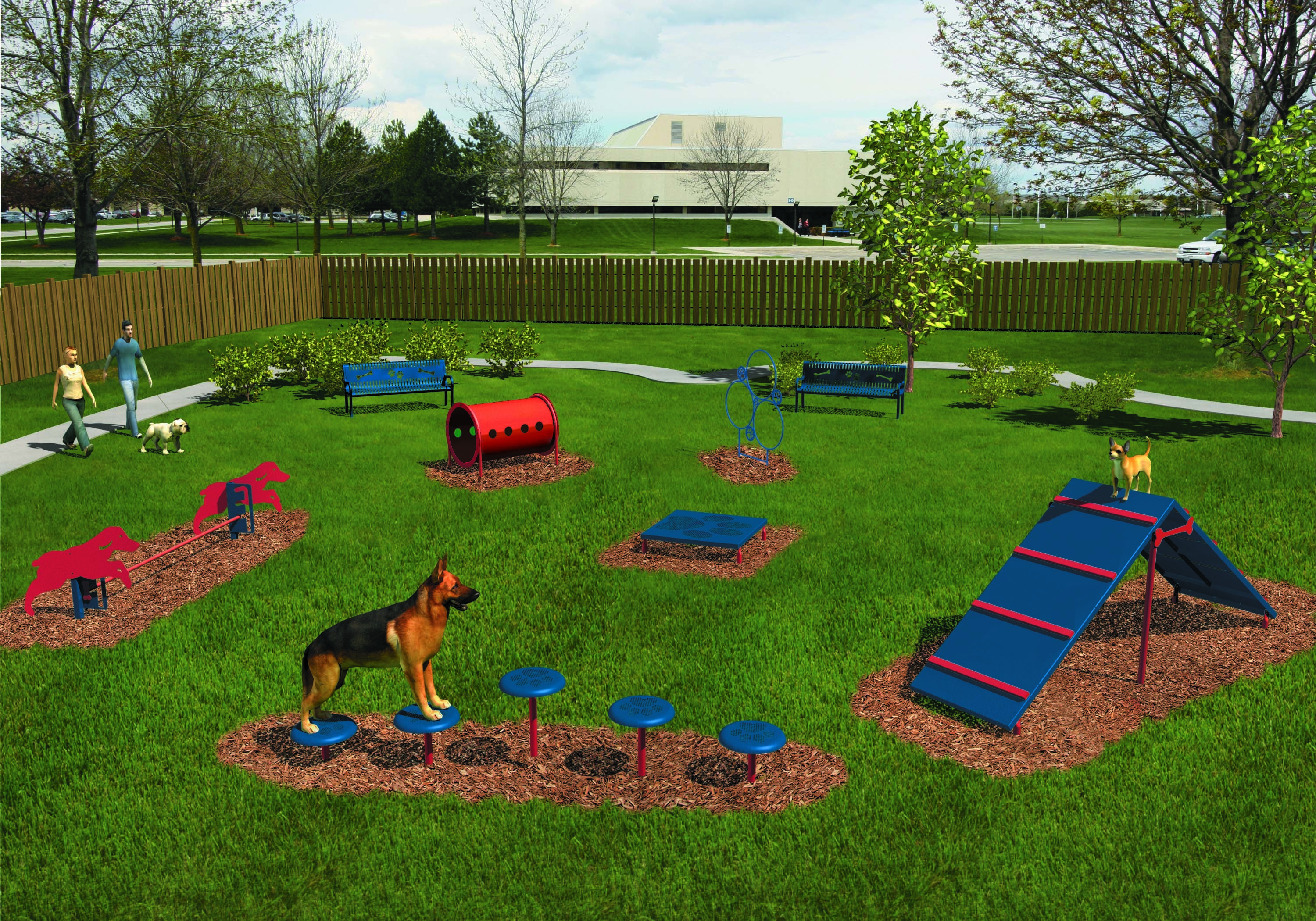 Rendering of BarkPark's Intermediate Course in the Playful Color Scheme