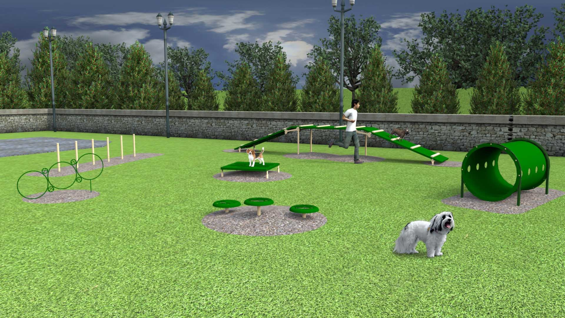 Featuring six (6) agility activities selected with small pups in mind.  Available as inground or surface mount.  Choose between our playful (red & blue) or natural (beige & green) color options.  Need help planning your space? Contact our dog park experts, we will be happy to assist!  Recommended for spaces XX or above.
