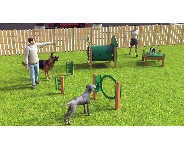 Our most popular recycled course featuring four (4) entry level agility activities.  Available as inground or surface mount.  Color as shown.  Need help planning your space? Contact our dog park experts, we will be happy to assist!