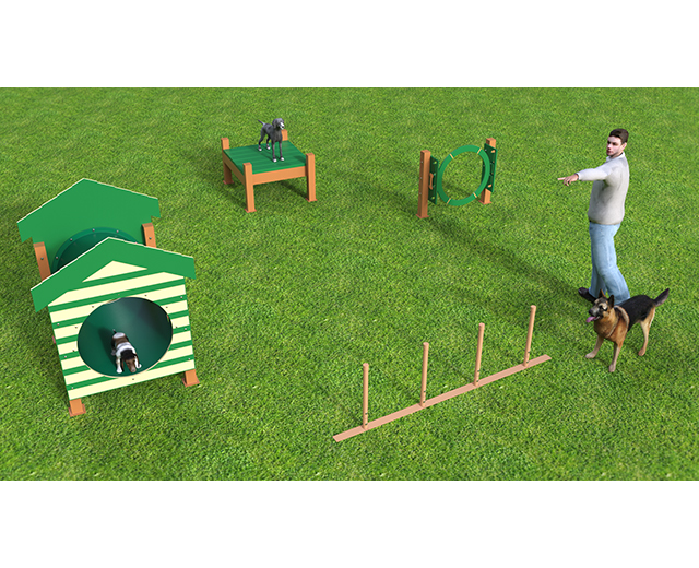 Featuring four (4) recycled agility activities selected with small pups in mind.  Available as inground or surface mount.  Color as shown.  Need help planning your space? Contact our dog park experts, we will be happy to assist!