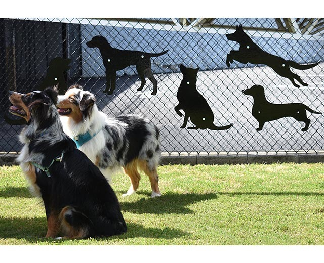 Lifestyle image of dog park fence hangers in a park setting.