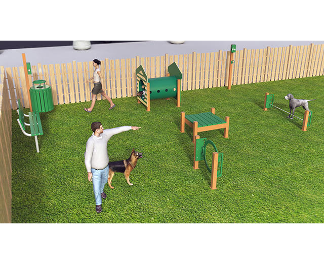 Featuring the popular Recycled Novice Course and completing it with a bench, receptacle, and waste station.  Available as inground or surface mount.  Color as shown.  Need help planning your space? Contact our dog park experts, we will be happy to assist!