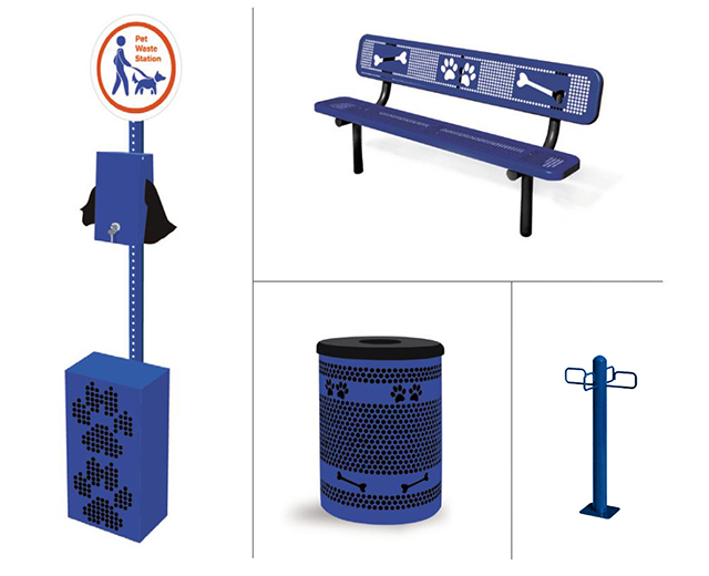 Image of Amenities Kit, Includes: Sit & Stay Bench, Tidy Up Trash Receptacle Package, Leash Post, and Pet Waste Station.