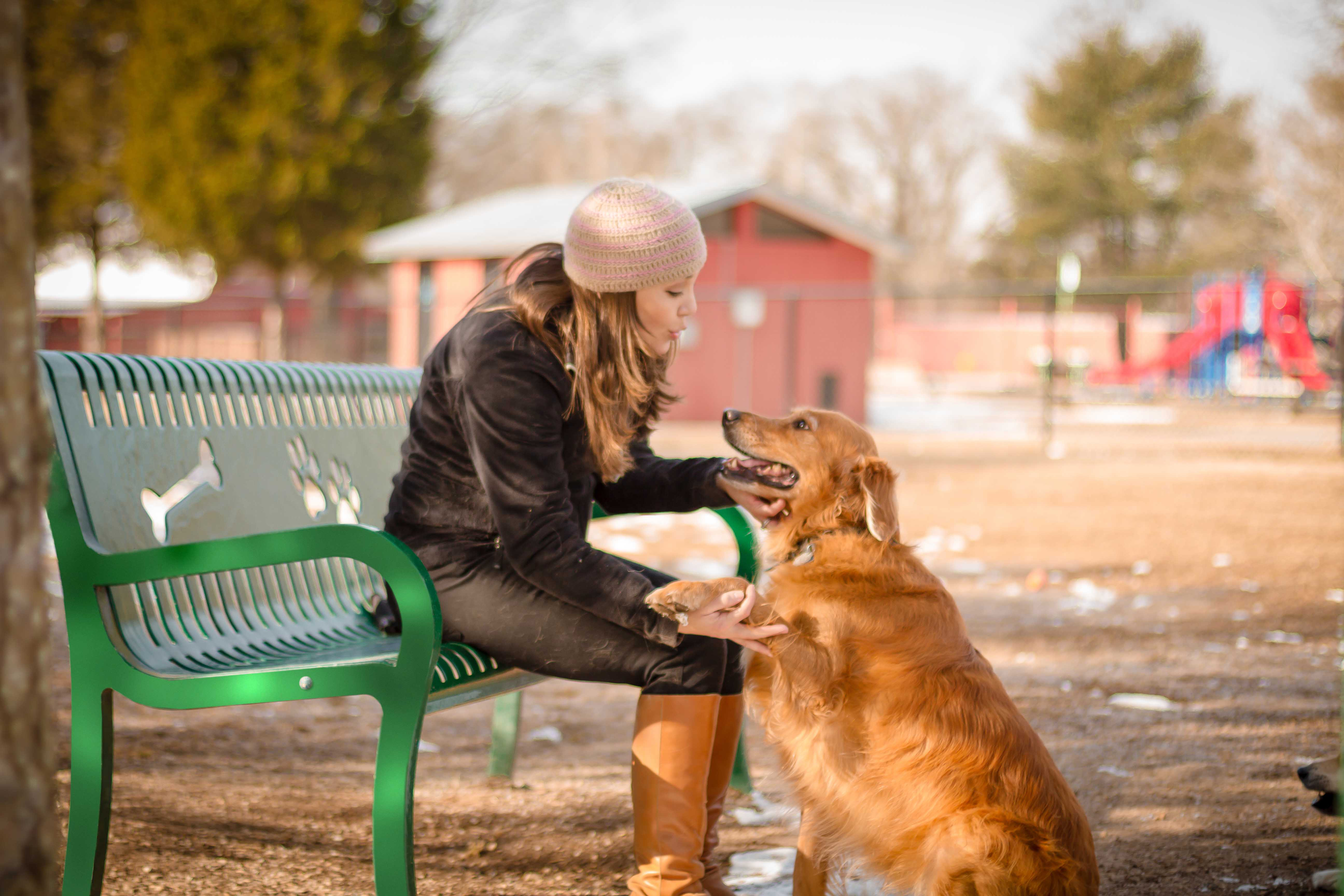 Lady petting dog sitting on Green Pooch Perch Bench Image