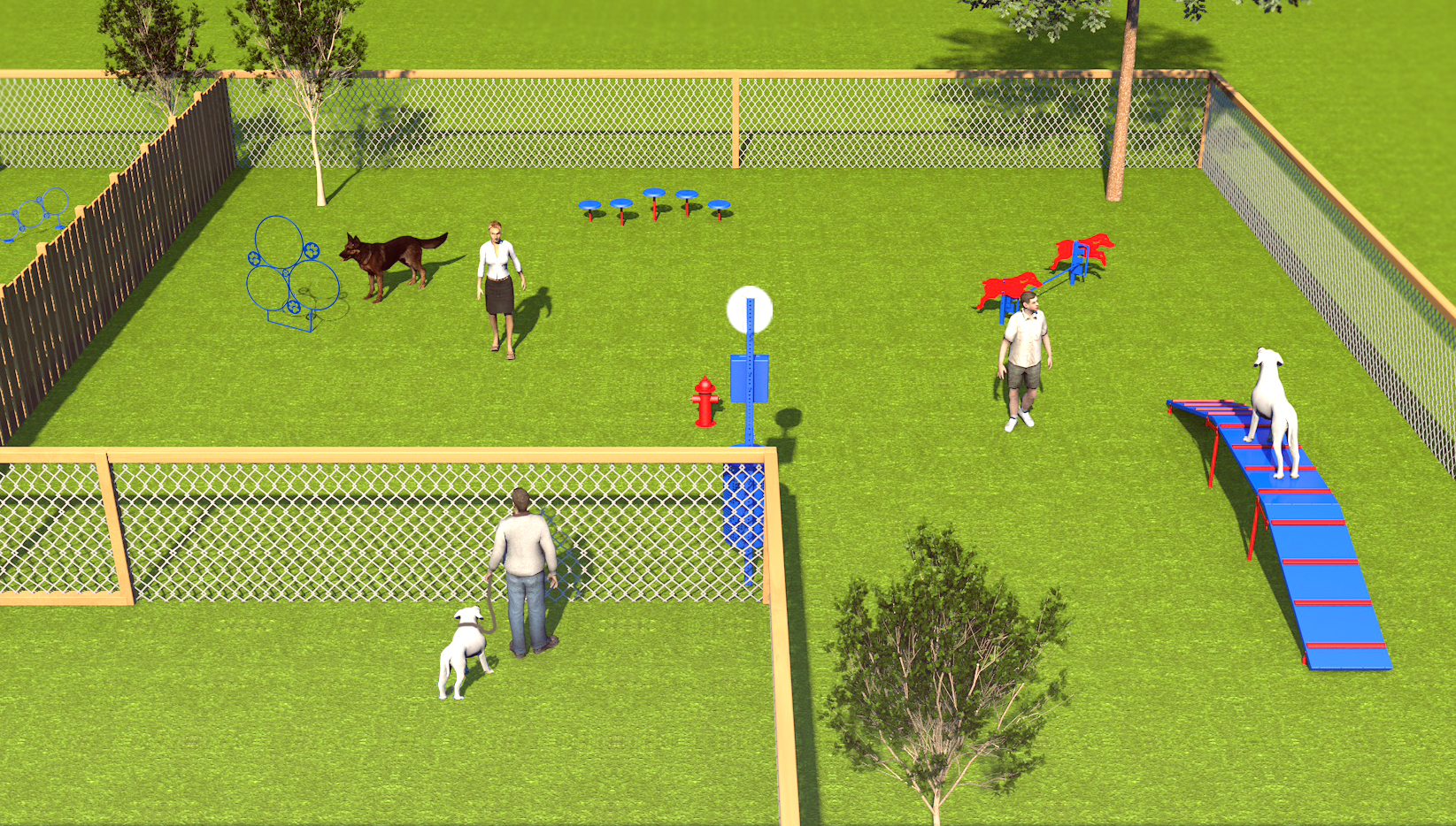 Close-up show of the large dog area in BarkPark's Combination Course
