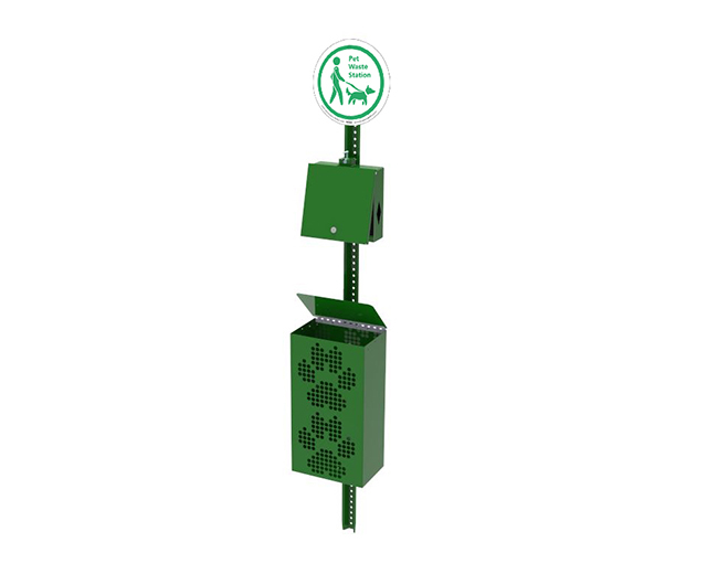 Waste Station with Hand Sanitizer Image - Green
