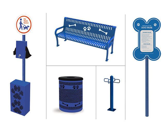 Blue Deluxe Amenities Kit, Includes Waste Station, Tidy Up Trash Receptacle, Pooch Perch Bench, Leash Post, and Essential Welcome Sign